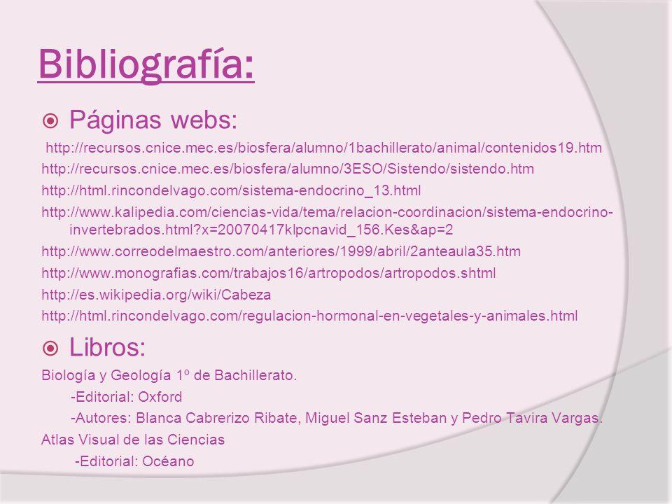 Bibliografía: Páginas webs: Libros: