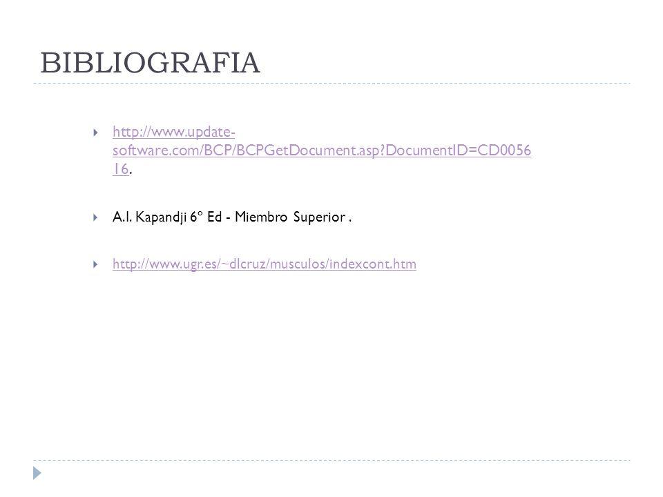 BIBLIOGRAFIA http://www.update- software.com/BCP/BCPGetDocument.asp DocumentID=CD0056 16. A.I. Kapandji 6º Ed - Miembro Superior .