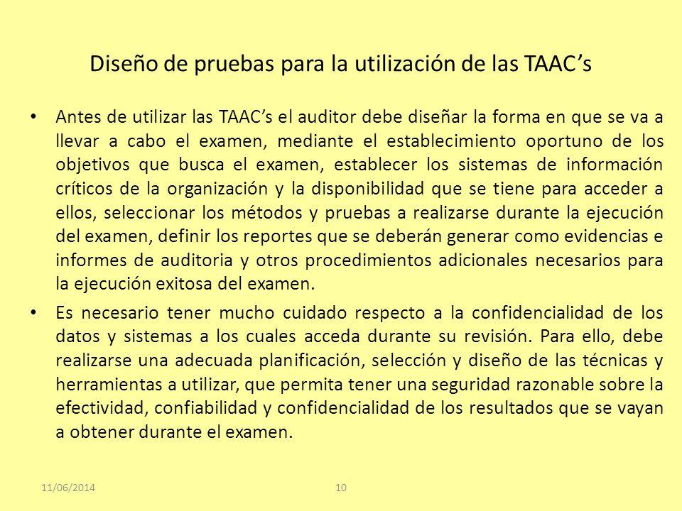 Diseño de pruebas para la utilización de las TAAC's