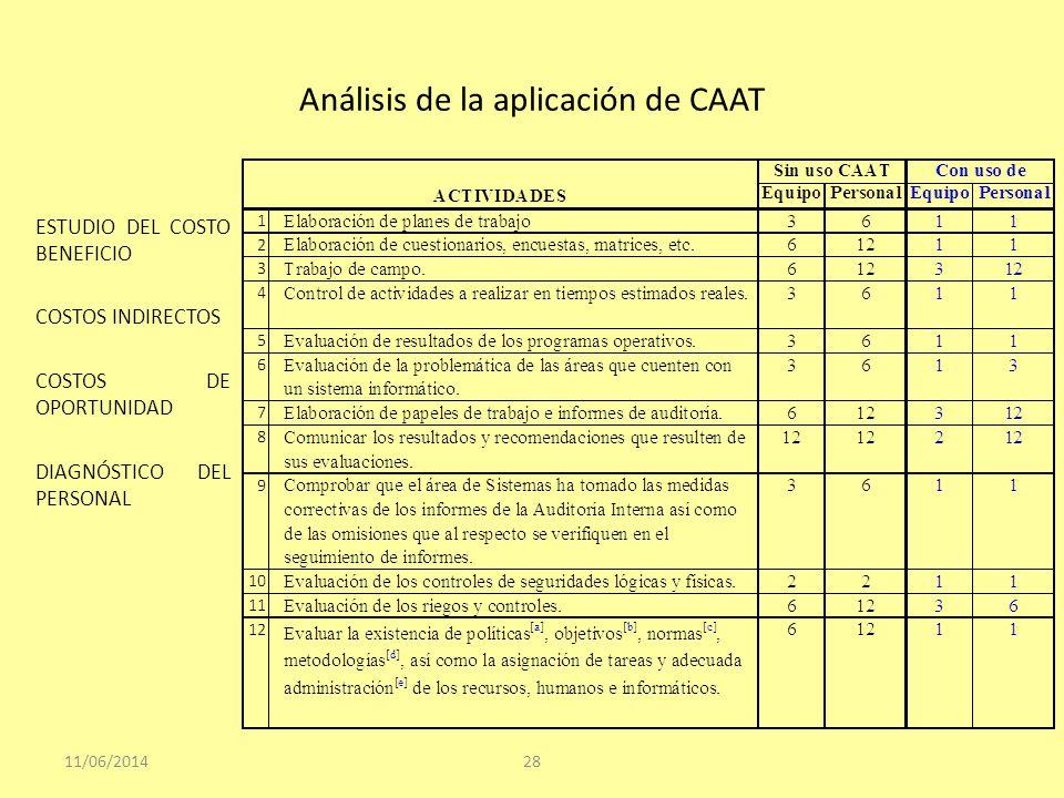 Análisis de la aplicación de CAAT