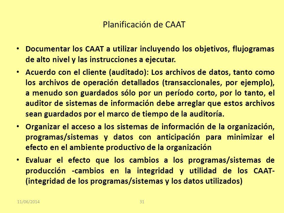 Planificación de CAAT Documentar los CAAT a utilizar incluyendo los objetivos, flujogramas de alto nivel y las instrucciones a ejecutar.