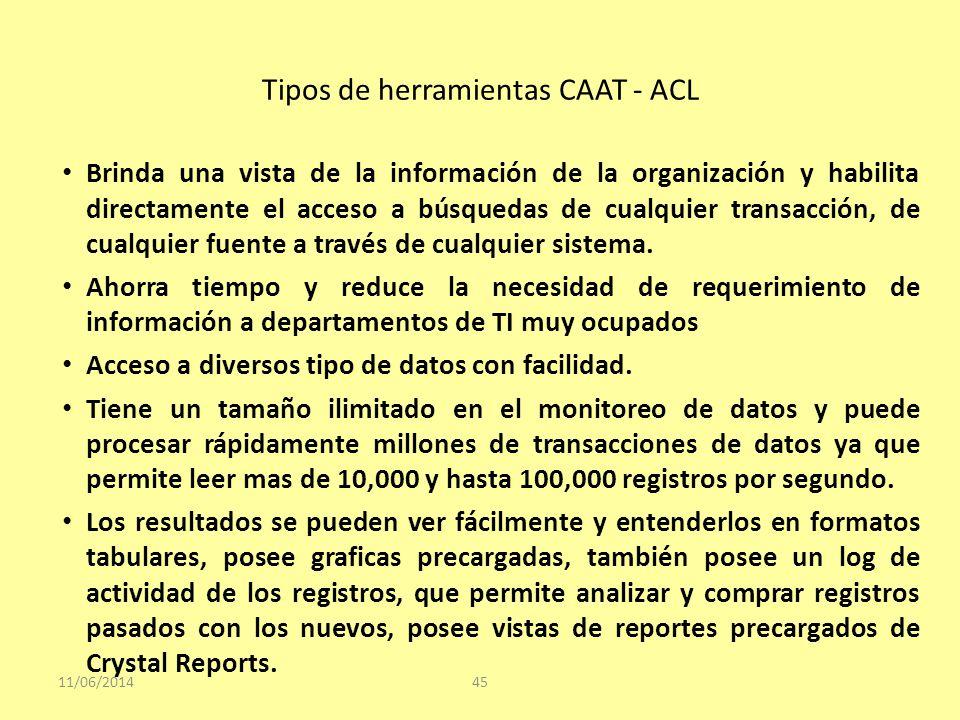 Tipos de herramientas CAAT - ACL