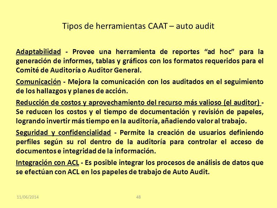 Tipos de herramientas CAAT – auto audit