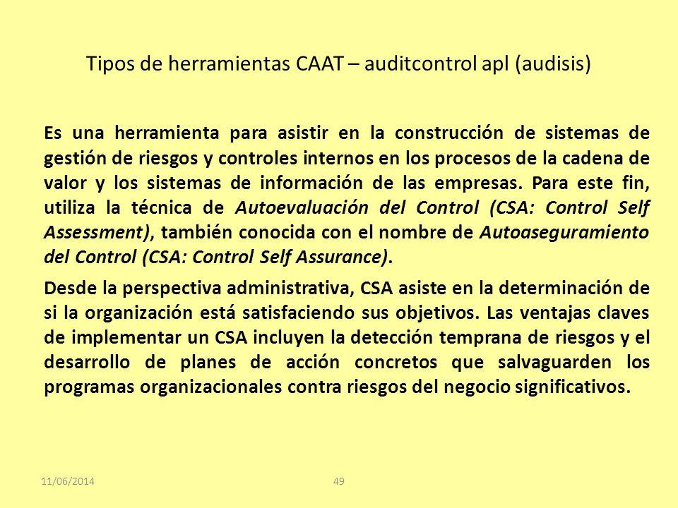Tipos de herramientas CAAT – auditcontrol apl (audisis)