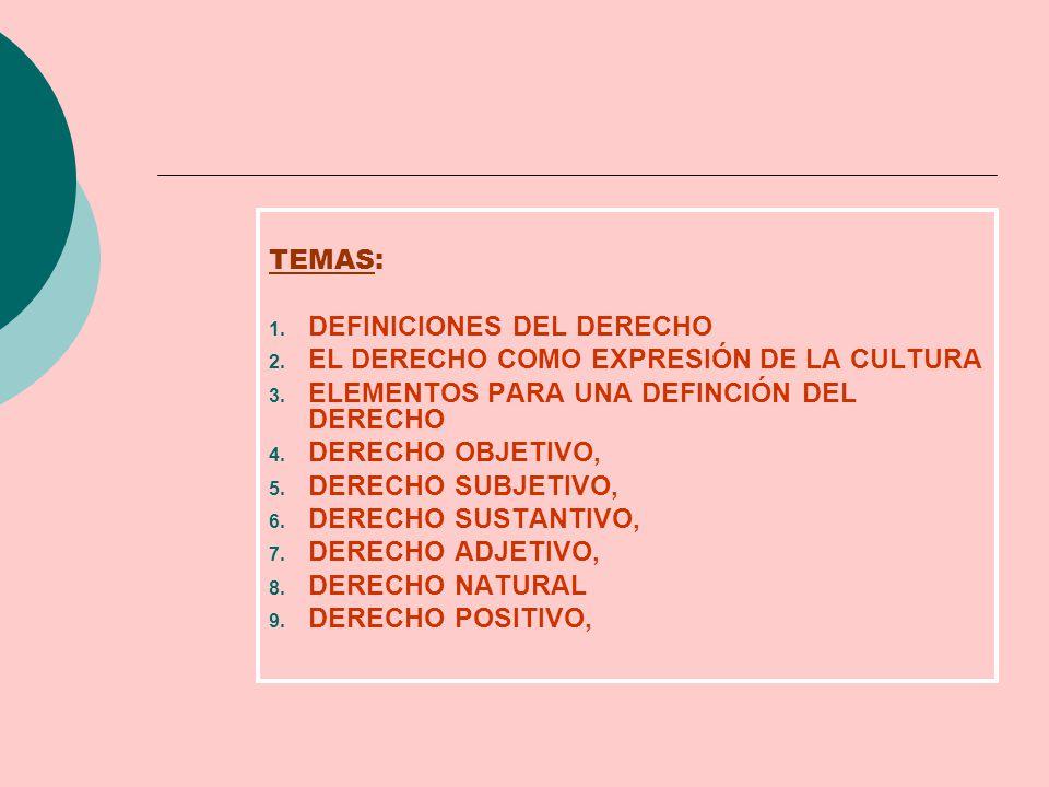 TEMAS: DEFINICIONES DEL DERECHO. EL DERECHO COMO EXPRESIÓN DE LA CULTURA. ELEMENTOS PARA UNA DEFINCIÓN DEL DERECHO.
