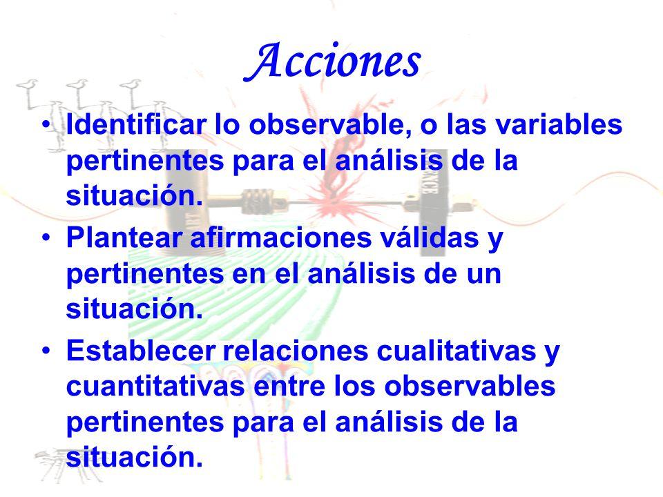 Acciones Identificar lo observable, o las variables pertinentes para el análisis de la situación.