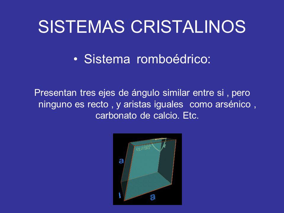 SISTEMAS CRISTALINOS Sistema romboédrico: