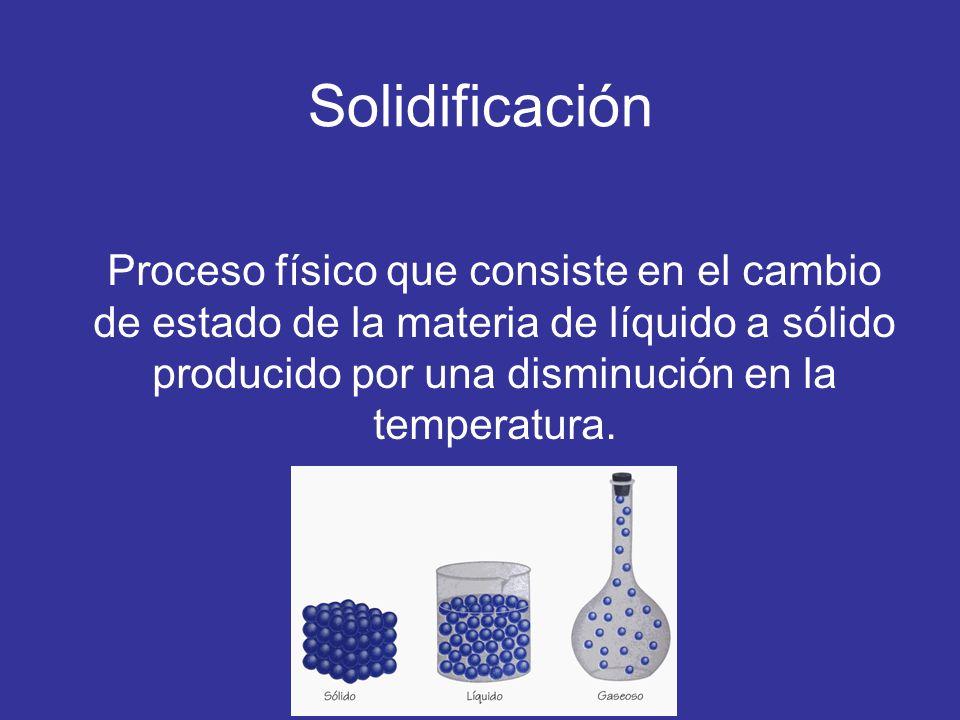 Solidificación Proceso físico que consiste en el cambio de estado de la materia de líquido a sólido producido por una disminución en la temperatura.