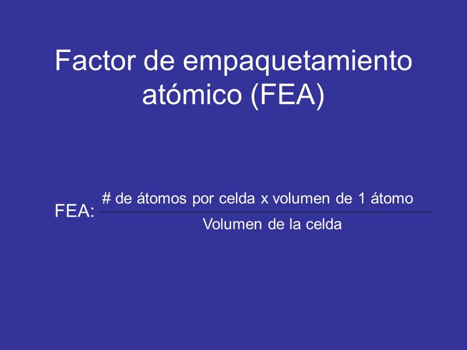 Factor de empaquetamiento atómico (FEA)