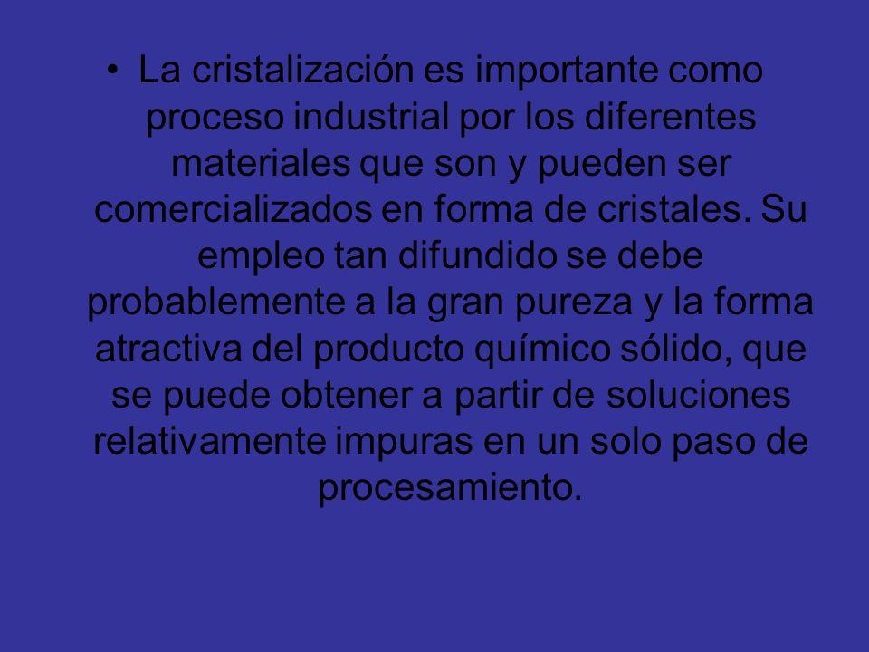 La cristalización es importante como proceso industrial por los diferentes materiales que son y pueden ser comercializados en forma de cristales.