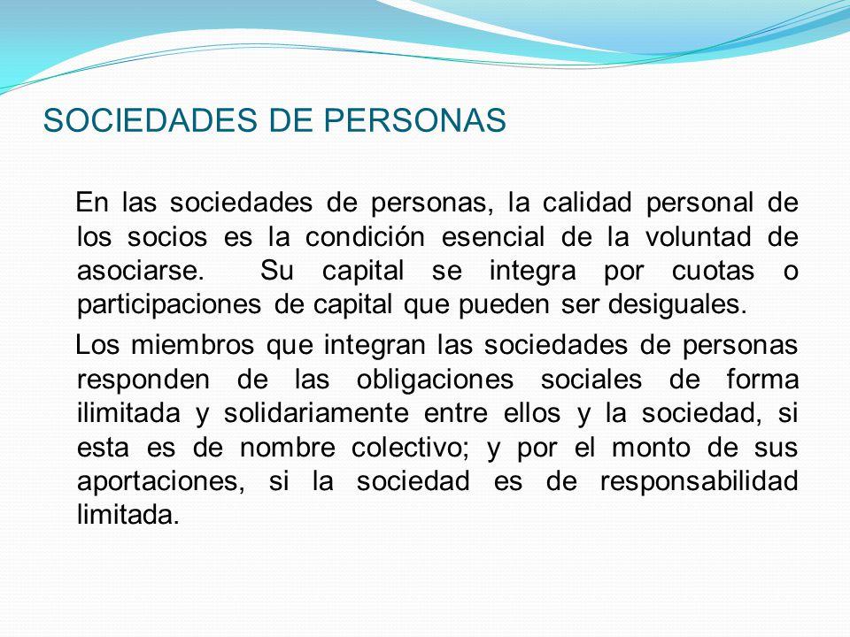 SOCIEDADES DE PERSONAS