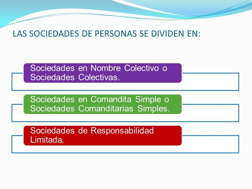 LAS SOCIEDADES DE PERSONAS SE DIVIDEN EN: