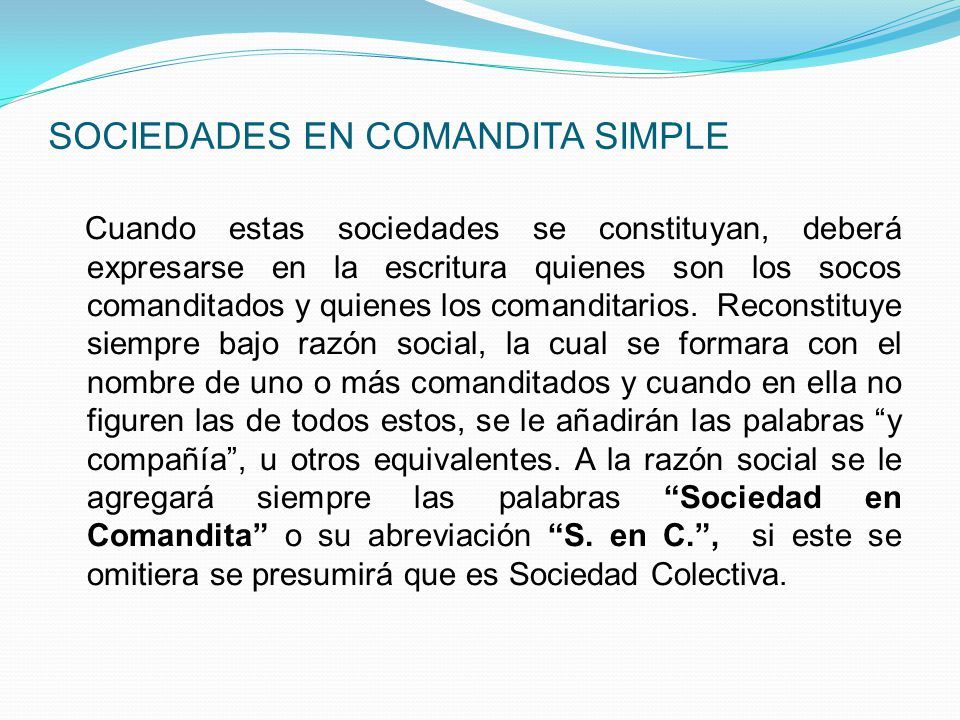 SOCIEDADES EN COMANDITA SIMPLE