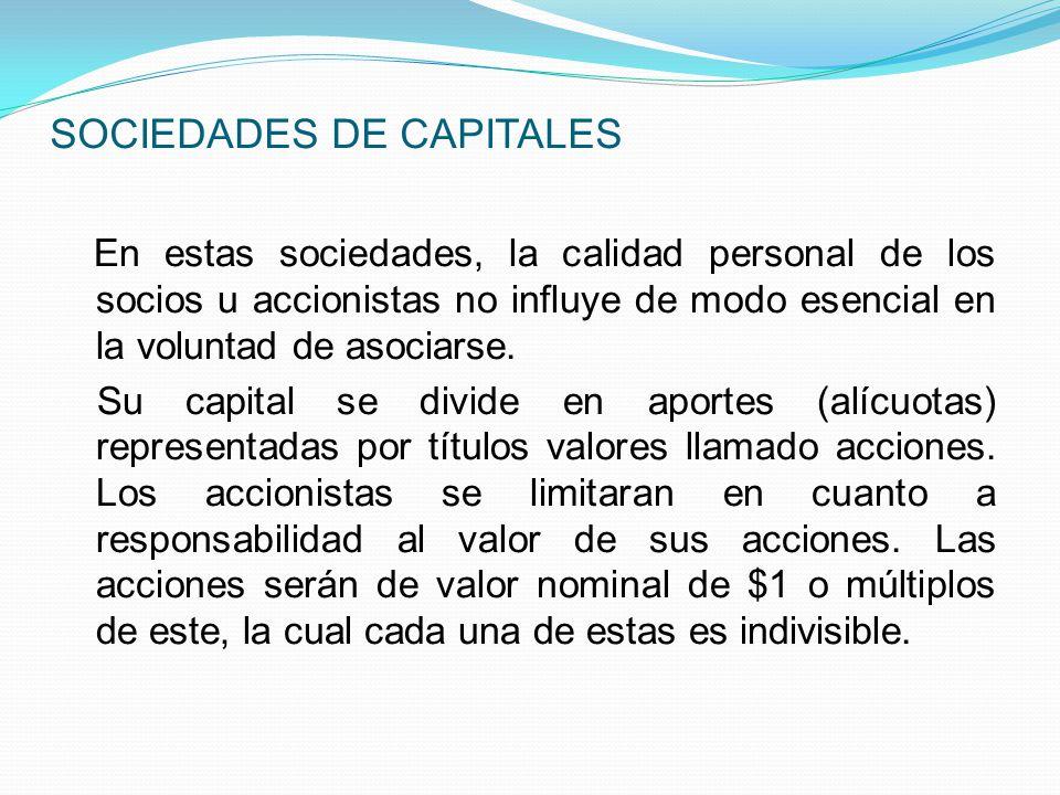 SOCIEDADES DE CAPITALES