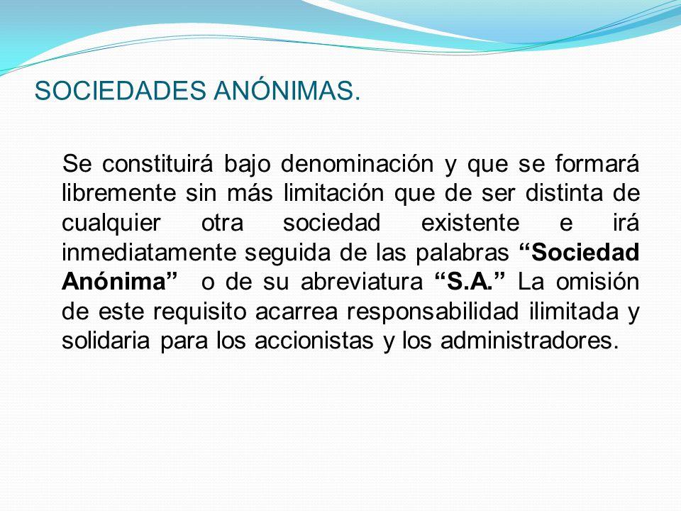 SOCIEDADES ANÓNIMAS.