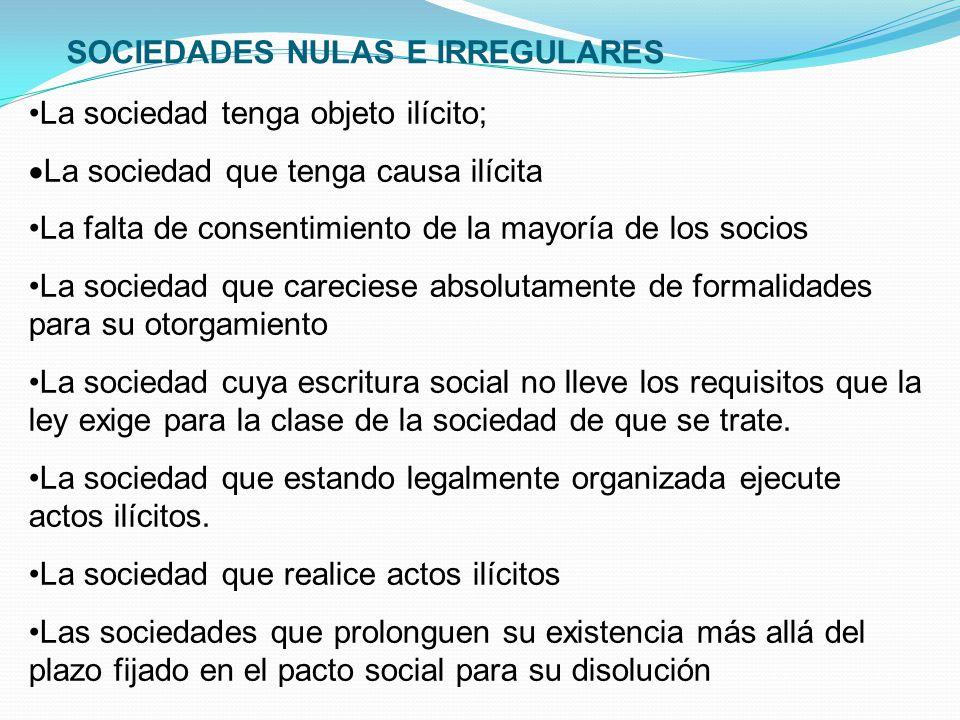 SOCIEDADES NULAS E IRREGULARES