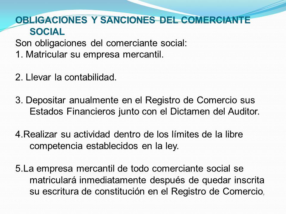 OBLIGACIONES Y SANCIONES DEL COMERCIANTE SOCIAL