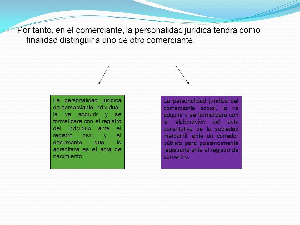Por tanto, en el comerciante, la personalidad juridica tendra como finalidad distinguir a uno de otro comerciante.