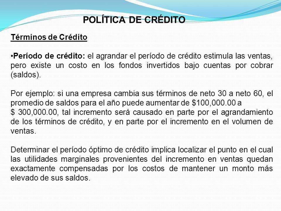 POLÍTICA DE CRÉDITO Términos de Crédito
