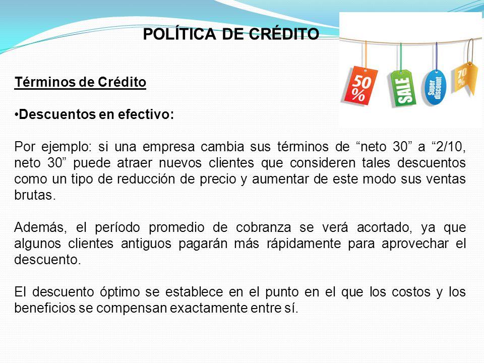 POLÍTICA DE CRÉDITO Términos de Crédito Descuentos en efectivo: