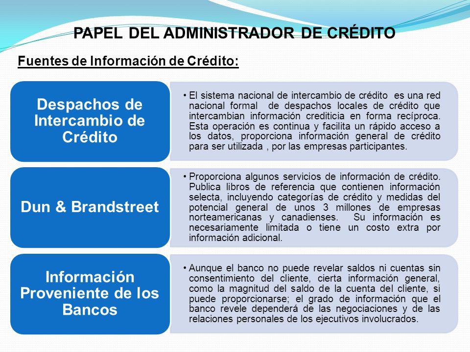 PAPEL DEL ADMINISTRADOR DE CRÉDITO Despachos de Intercambio de Crédito