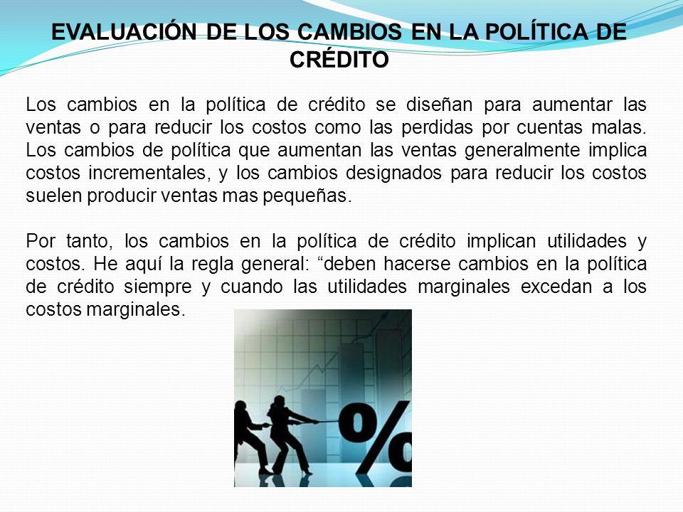 EVALUACIÓN DE LOS CAMBIOS EN LA POLÍTICA DE CRÉDITO