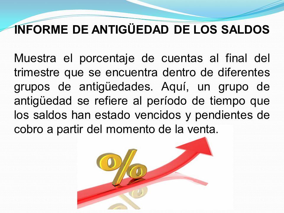 INFORME DE ANTIGÜEDAD DE LOS SALDOS