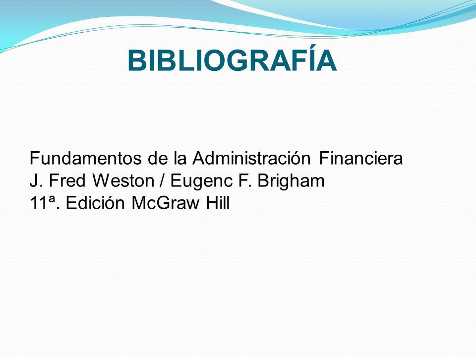 BIBLIOGRAFÍA Fundamentos de la Administración Financiera
