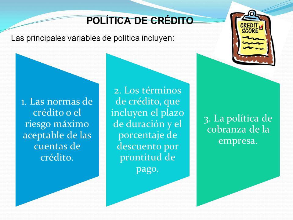 3. La política de cobranza de la empresa.