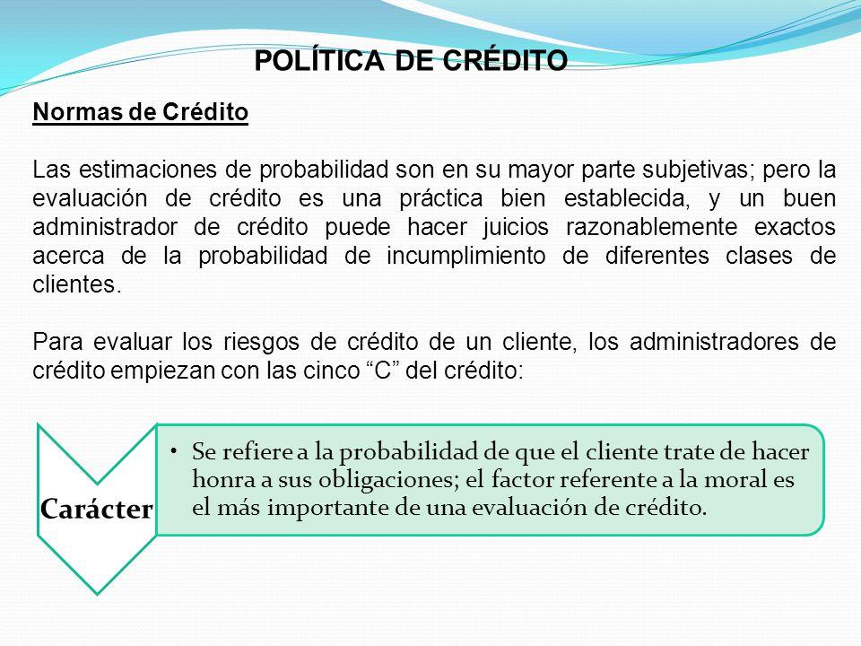 POLÍTICA DE CRÉDITO Normas de Crédito