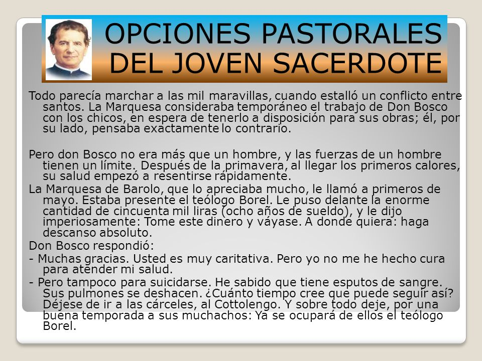OPCIONES PASTORALES DEL JOVEN SACERDOTE