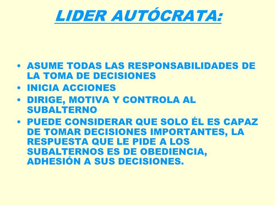 LIDER AUTÓCRATA: ASUME TODAS LAS RESPONSABILIDADES DE LA TOMA DE DECISIONES. INICIA ACCIONES. DIRIGE, MOTIVA Y CONTROLA AL SUBALTERNO.