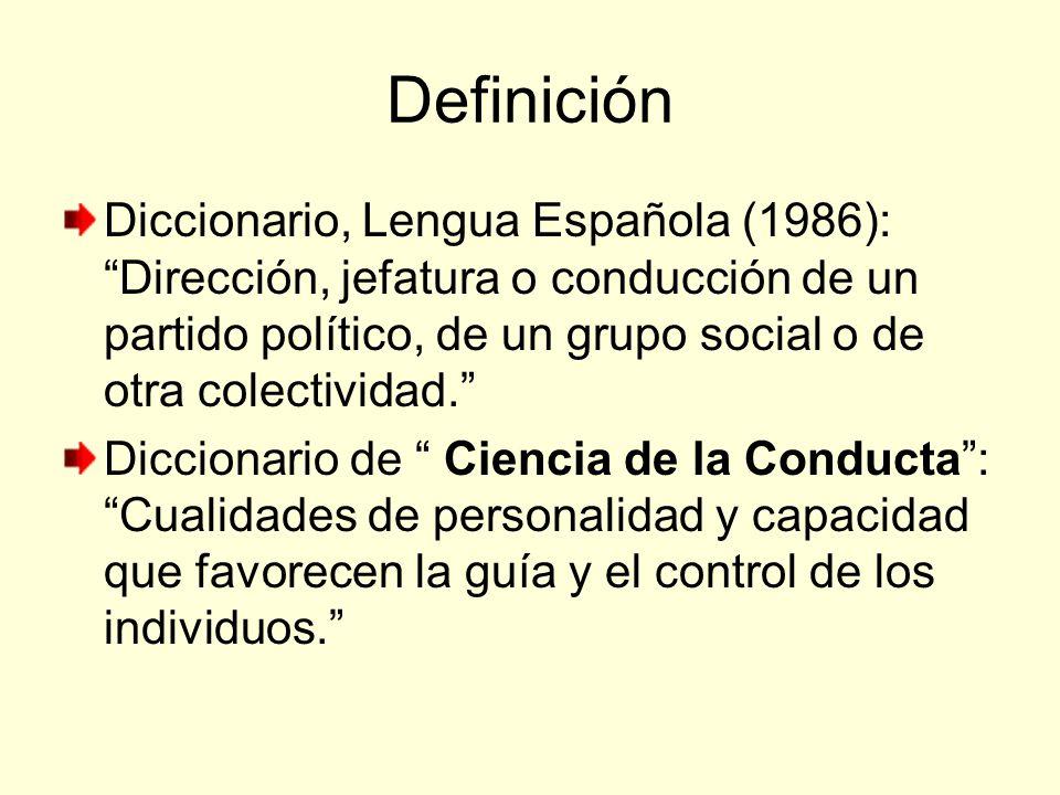 Definición Diccionario, Lengua Española (1986): Dirección, jefatura o conducción de un partido político, de un grupo social o de otra colectividad.