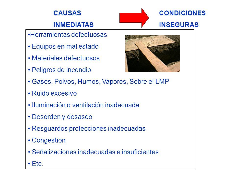 CAUSAS INMEDIATAS. CONDICIONES. INSEGURAS. Herramientas defectuosas. Equipos en mal estado. Materiales defectuosos.