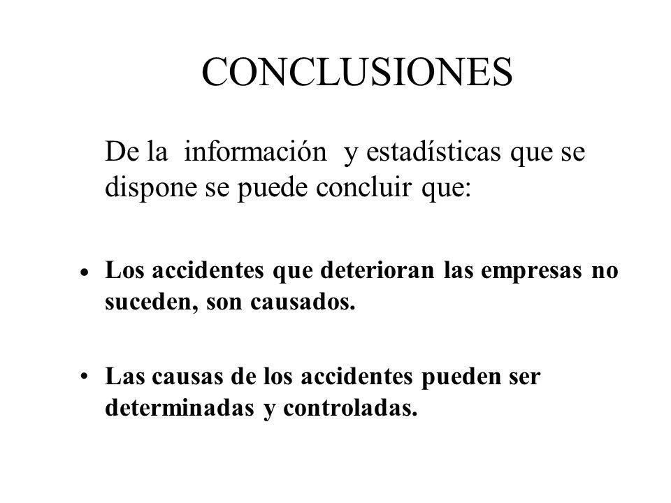 CONCLUSIONES De la información y estadísticas que se dispone se puede concluir que: