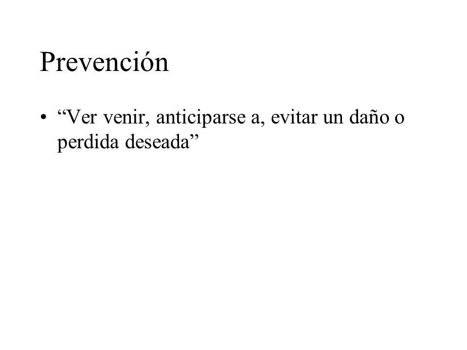 Prevención Ver venir, anticiparse a, evitar un daño o perdida deseada