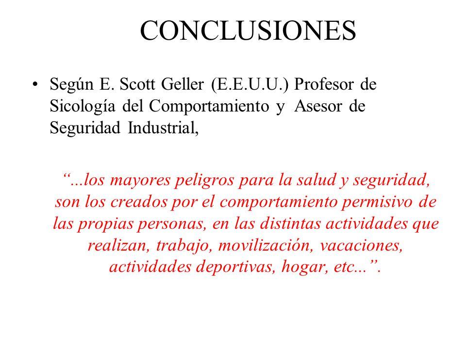 CONCLUSIONES Según E. Scott Geller (E.E.U.U.) Profesor de Sicología del Comportamiento y Asesor de Seguridad Industrial,
