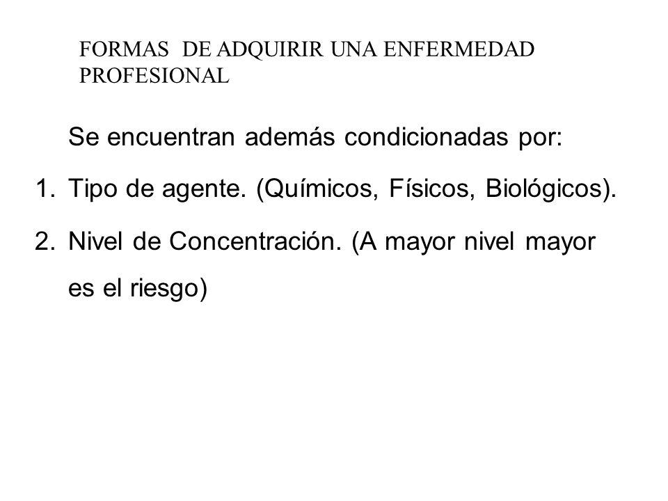 Tipo de agente. (Químicos, Físicos, Biológicos).
