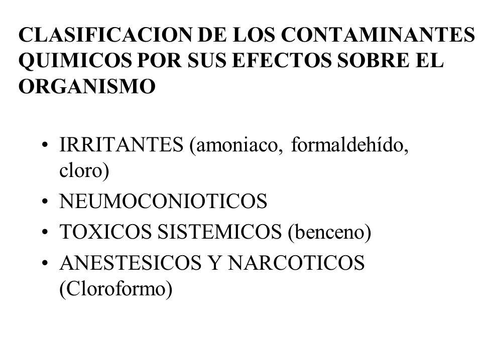 CLASIFICACION DE LOS CONTAMINANTES QUIMICOS POR SUS EFECTOS SOBRE EL ORGANISMO