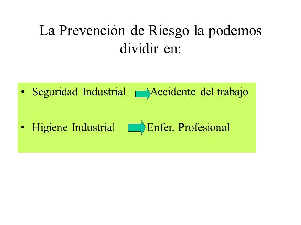 La Prevención de Riesgo la podemos dividir en: