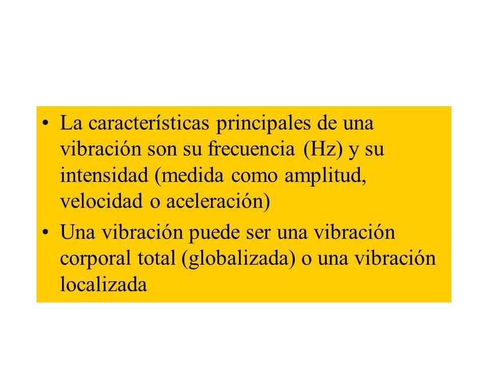 La características principales de una vibración son su frecuencia (Hz) y su intensidad (medida como amplitud, velocidad o aceleración)