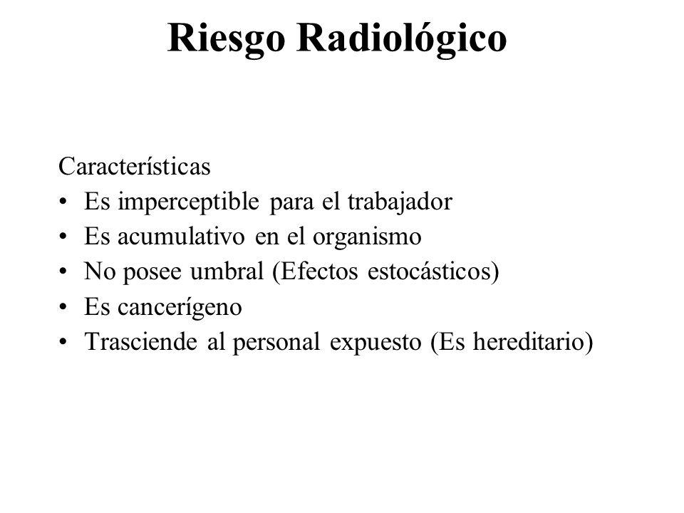 Riesgo Radiológico Características Es imperceptible para el trabajador