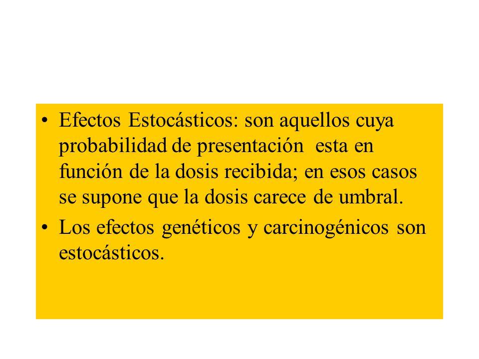 Efectos Estocásticos: son aquellos cuya probabilidad de presentación esta en función de la dosis recibida; en esos casos se supone que la dosis carece de umbral.