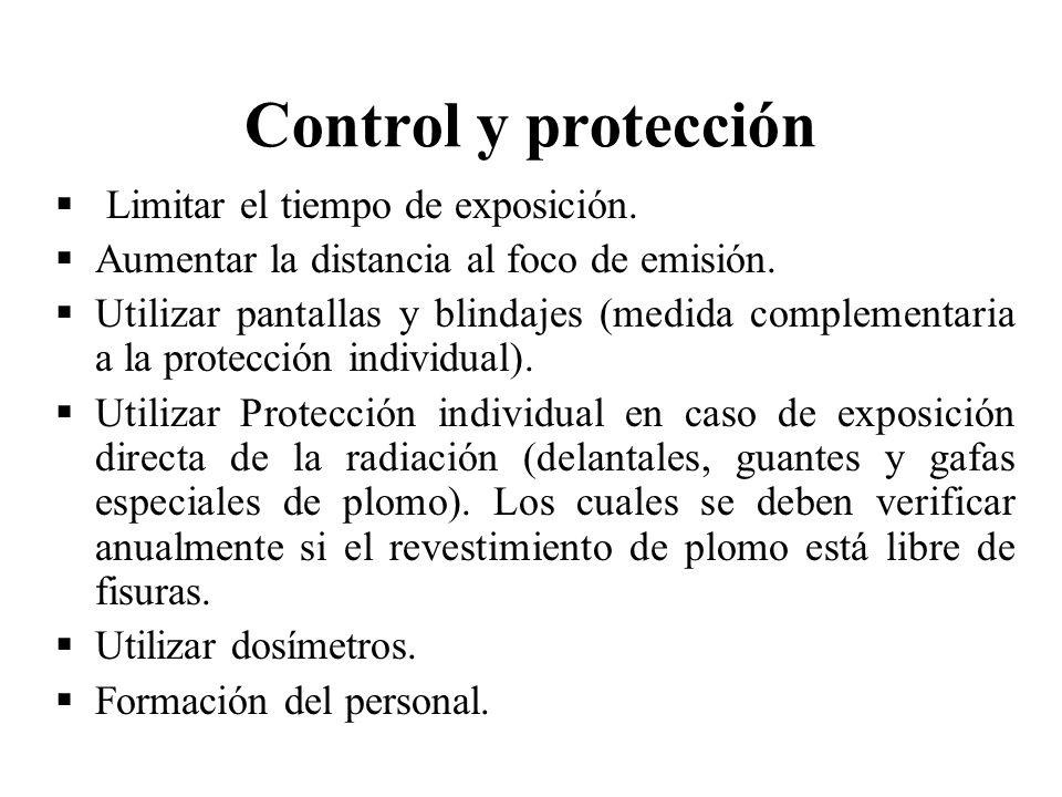 Control y protección Limitar el tiempo de exposición.