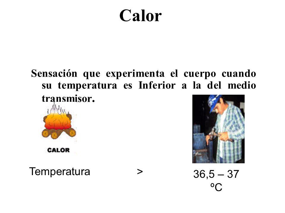 Calor Sensación que experimenta el cuerpo cuando su temperatura es Inferior a la del medio transmisor.