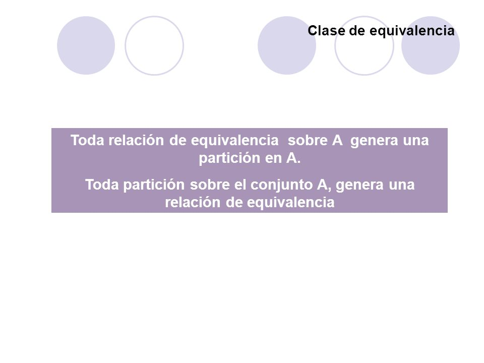 Toda relación de equivalencia sobre A genera una partición en A.