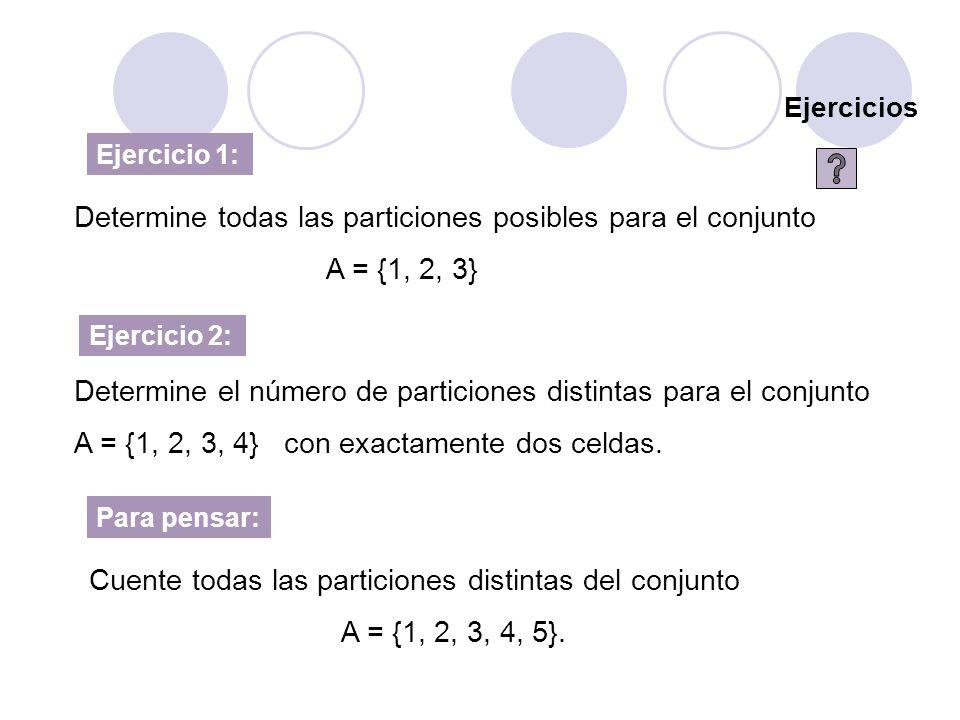 Determine todas las particiones posibles para el conjunto