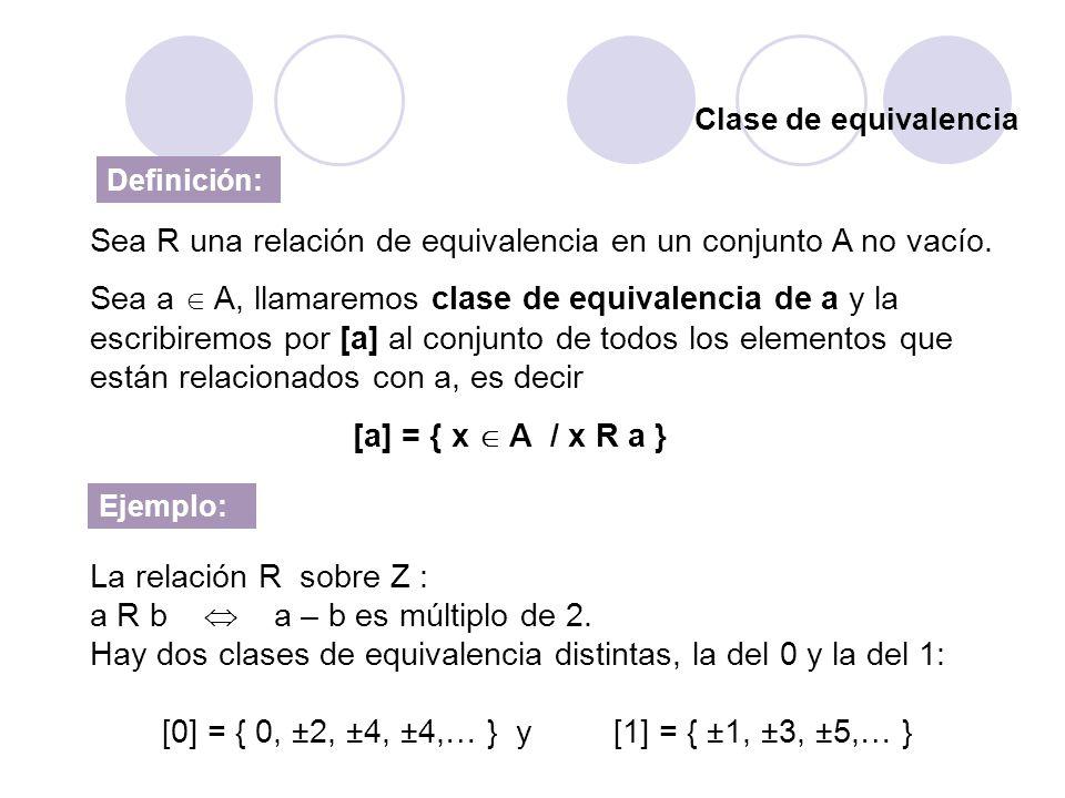 Sea R una relación de equivalencia en un conjunto A no vacío.