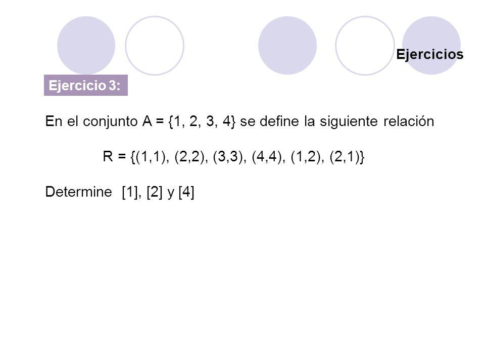 En el conjunto A = {1, 2, 3, 4} se define la siguiente relación