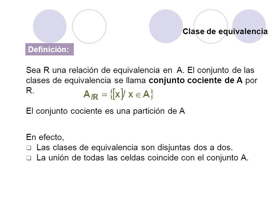 El conjunto cociente es una partición de A